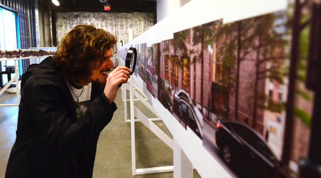 Sean Busher at inspecting the Panorama at the Moment Mile Exhibition