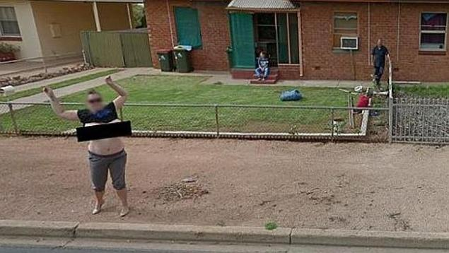 Karen Davis directs a cheeky wobble toward the Google Street Cameras.