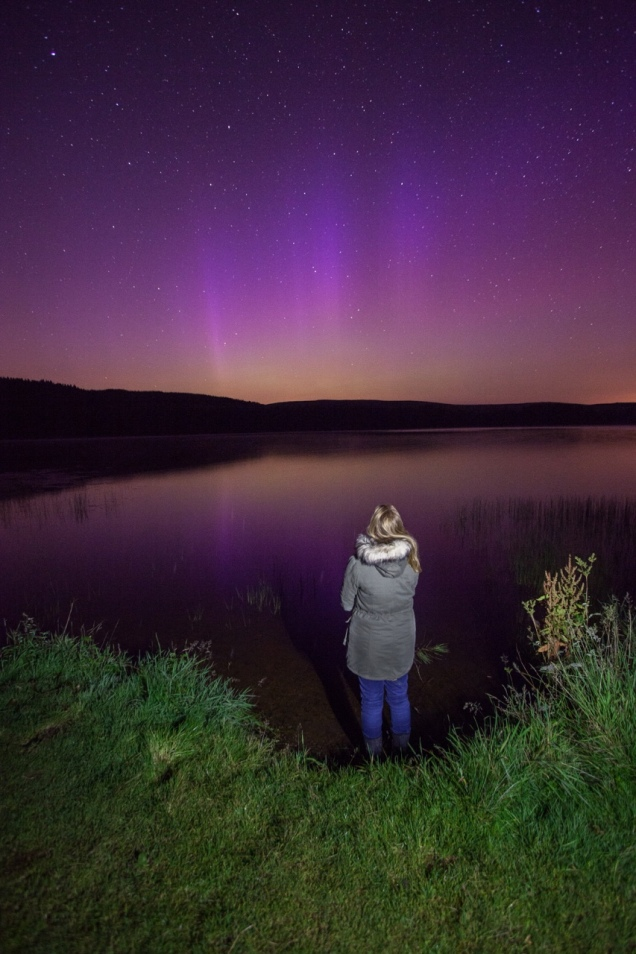 Aurora over Alemoor Reservoir, near Hawick, Scottish Borders.  Copyright: Sam Cornwell