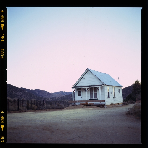 View of a house near in Virginia City, Nevada on the way to Reno. Taken with a Hasselblad 501C, 80mm Zeiss CF lens, and Fujichrome Astia reversal film.