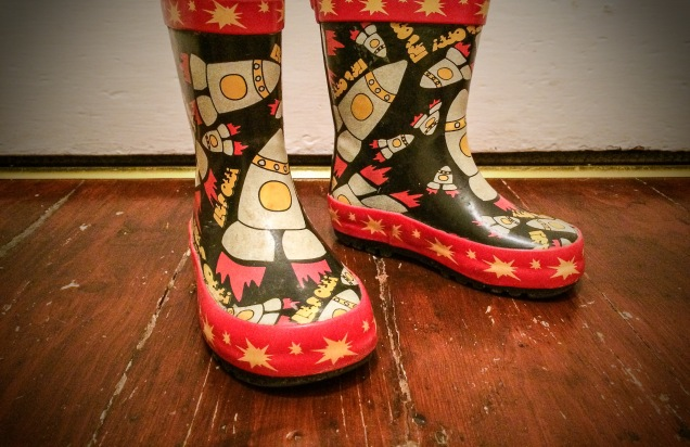 My Daughters Space Wellies are off to the Moon