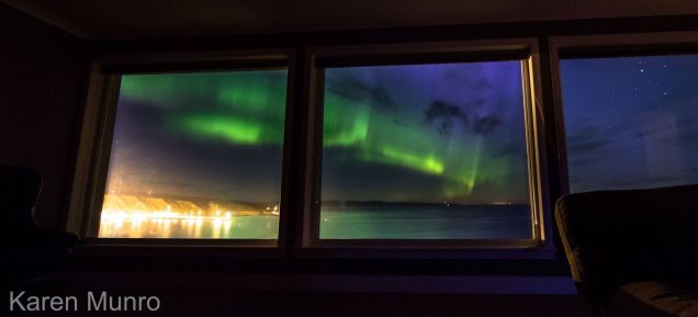 Karen Munro's amazing aurora captured from her living room window while she slept.