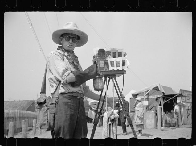 Tin-type photographer at Morrisville, Vermont fair. Carl Mydans, August 1936.