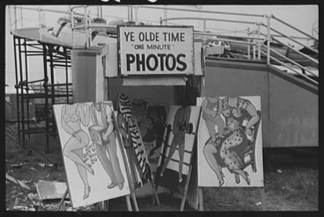 Props used by tintype photographer at the Champlain Valley Exposition, Essex Junction, Vermont. Jack Delano, August 1941.