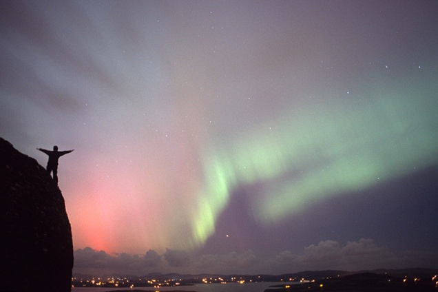 Northern Lights as seen from north coast of Ireland in 2004. Fuji Provia 400F with exposure of approx 40 seconds.