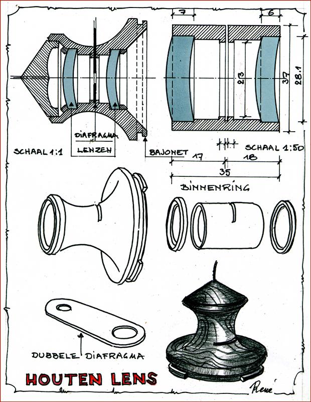 schets houten lens